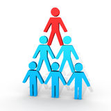 Human figures form a pyramid. 3d human figures form a human pyramid Royalty Free Stock Image