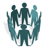 Human figures holding hands in a circle Stock Photo