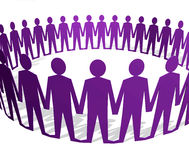Human figures holding hands in a circle vector illustration