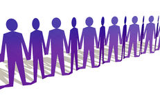 Human figures holding hands in a row royalty free illustration
