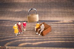 Human figures at the lock, Illustration for General Data Protection Regulation and closed access Royalty Free Stock Image