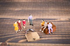 Human figures at the lock, Illustration for General Data Protection Regulation and closed access Royalty Free Stock Photo