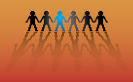 Human figures in row. Illustration Stock Images