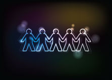 Human figures in a row. Illustration Stock Photo