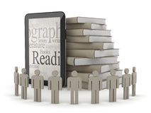 Human figures, tablet computer and stack of books. On white background Royalty Free Stock Image