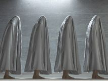 Men covered by cloth. Human figures under cloth. Human elements were created with 3D software and are not from any actual human likenesses Royalty Free Stock Photography