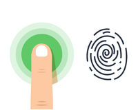 Human finger print  icon on white background. Vector Icons Set, Isolated Sci-Fi Future Identification Authorization System Royalty Free Stock Photography
