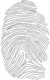 Human Fingerprint. Finger print composed of text relating to humanity Stock Photography