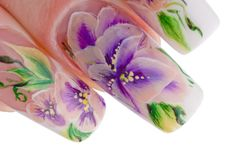Human fingers with beautiful spring manicure Royalty Free Stock Photos