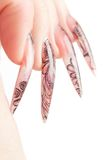 Human  fingers with long fingernail Royalty Free Stock Photography