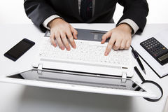 Human fingers on the notebook keyboard 3 Royalty Free Stock Image