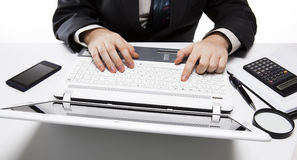 Human fingers on the notebook keyboard 3 Royalty Free Stock Photos