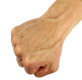 Human fist with swollen vein, isolated. Human fist with swollen vein, top view, isolated stock photography