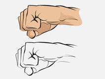 Human fist. Vector illustration of a human fist colored and line art Royalty Free Stock Photography