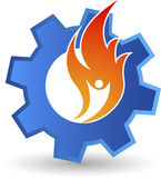 Human flame gear logo. Illustration art of a human flame gear logo with  background Stock Photo