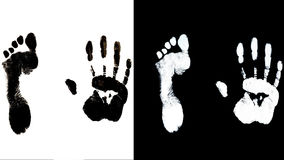 Human foot end hand prints identification biometrics. Ink royalty free stock images