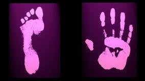 Human foot end hand prints identification biometrics Royalty Free Stock Photography
