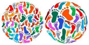 Human foot prints. Isolated line art designs Royalty Free Stock Image