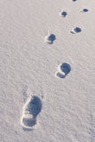 Human foot prints on the snow Royalty Free Stock Photography