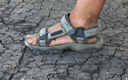 Human foot in sandals on the cracked earth Royalty Free Stock Photo