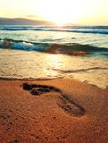 Footprint. Human footprint in the beach golden sand in front of a sunrise over the sea stock photography