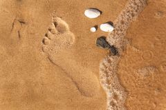 Human footprint on the beach sand. Memories of the sea. Greetings from vacation. Evening on the beach. Human footprint on the beach sand. Memories of the sea Stock Photos