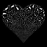 Human Footprint Fireworks Heart. Human Footprint fireworks with heart shape. Raster illustration style is flat white iconic symbols on a black background. Object Stock Image