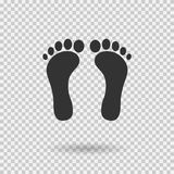 Human footprint icon. Vector footsteps. Flat style. Black silhouettes. Illustration with shadown on transparent background Royalty Free Stock Photography