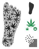 Human Footprint Mosaic of Marijuana. Human footprint collage of weed leaves in various sizes and color shades. Vector flat grass leaves are grouped into human Royalty Free Stock Photos