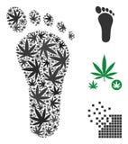 Human Footprint Mosaic of Marijuana. Human footprint mosaic of hemp leaves in variable sizes and color tints. Vector flat hemp symbols are composed into human Royalty Free Stock Images