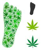 Human Footprint Mosaic of Weed Leaves. Human footprint composition of cannabis leaves in different sizes and green tints. Vector flat cannabis objects are Stock Photo