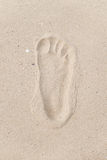 Human footprint on sand beach Royalty Free Stock Images
