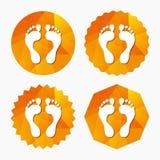 Human footprint sign icon. Barefoot symbol. Stock Photos