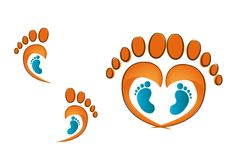 Human footprints of adult man with baby footprints. Child care. Footprints of an adult foot forming a heart royalty free illustration