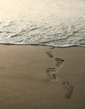 Human footprints and beach Stock Photography