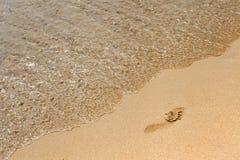 Human footprints on the beach Royalty Free Stock Photos