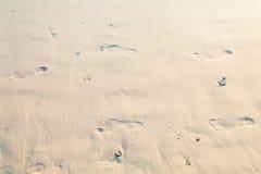 Human footprints on the beach Royalty Free Stock Photo