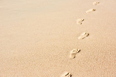 Human footprints on beach sand Royalty Free Stock Images