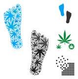 Human Footprints Collage of Cannabis stock illustration