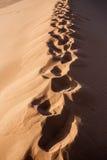Human footprints on dune in Hidden Vlei in Namib desert Stock Photos