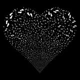 Human Footprints Fireworks Heart. Human Footprints fireworks with heart shape. Raster illustration style is flat white iconic symbols on a black background Stock Photos