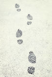 Human footprints on the fresh white snow Stock Images