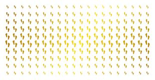Human Footprints Gold Halftone Grid. Human footprints icon golden halftone pattern. Vector human footprints items are arranged into halftone array with inclined Royalty Free Stock Photos