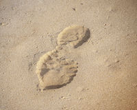 Human footprints in sand Stock Images
