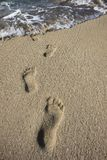 Human footprints in the sand Stock Photography