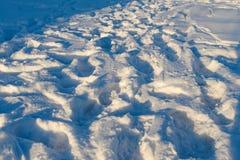Human footprints on white snow Royalty Free Stock Image