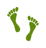 Human Footsteps Made in Green Leaves. Illustration Human Footsteps Made in Green Leaves, Ecology Concept - Vector Stock Photo