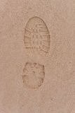 Human footsteps. In the sand Stock Photography