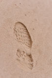 Human footsteps. In the sand Stock Image