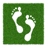 Human footsteps. Trace human foots from green grass, vector illustration Royalty Free Stock Photos